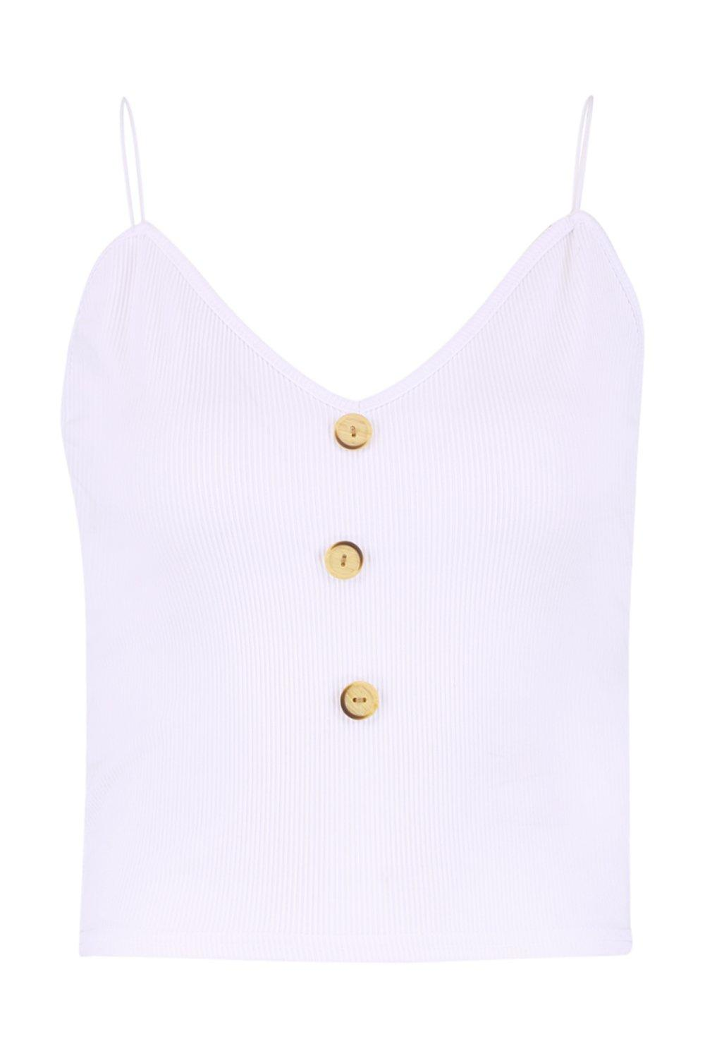 Button Ribbed Neck white Cami Horn V qn480U