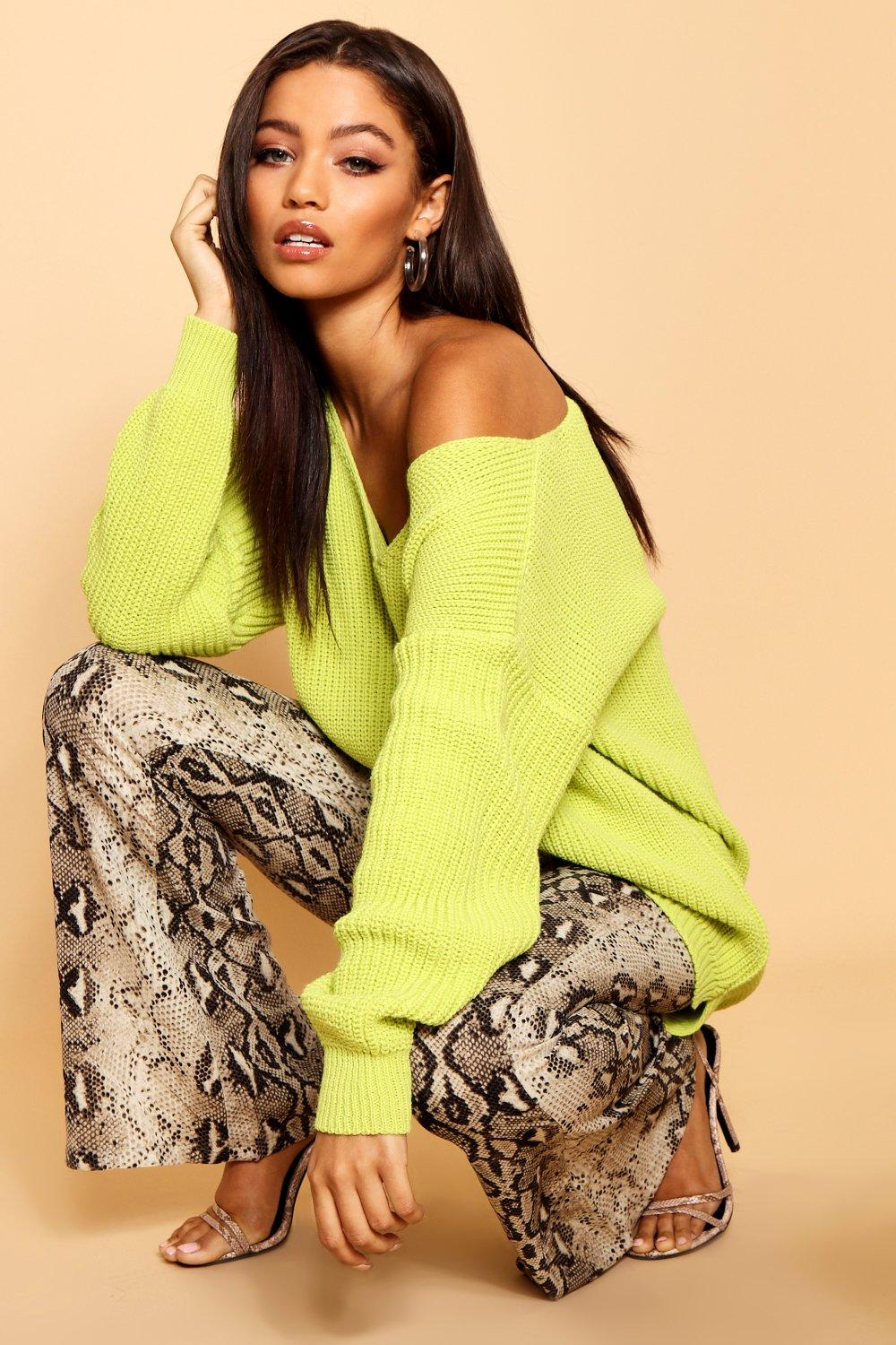 Neck Neck V V Oversized lime Jumper Oversized Jumper lime FvYqOWT