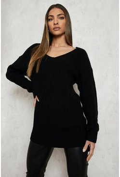 Womens Black Oversized V Neck Sweater