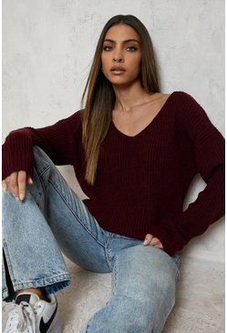 Burgundy Oversized V Neck Sweater