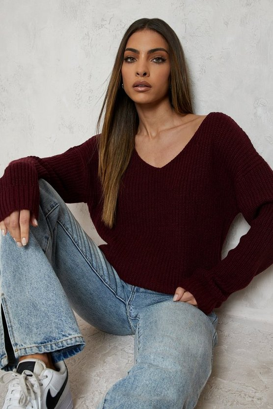 Womens Burgundy Oversized V Neck Jumper
