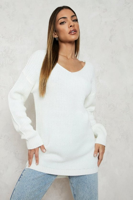 Oversized V Neck Jumper, Cream, Donna