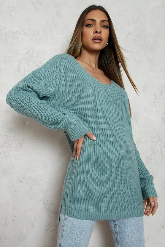 Sage Oversized V Neck Sweater