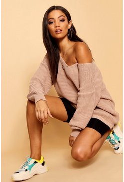 Womens Sand Oversized V Neck Jumper
