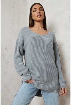 Silver Oversized V Neck Jumper