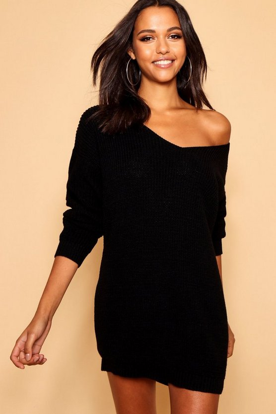 V Neck Jumper Mini Dress, Black, Donna