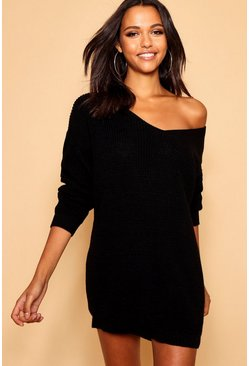Womens Black V Neck Sweater Mini Dress