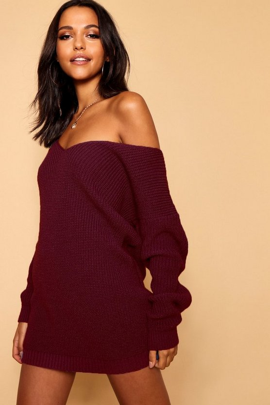Womens Burgundy V Neck Jumper Mini Dress