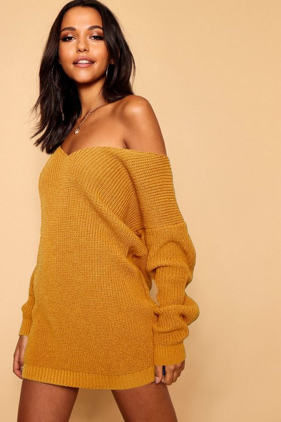 Womens Mustard V Neck Sweater Mini Dress