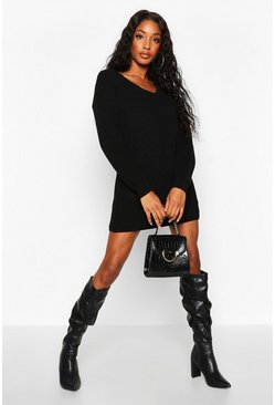 Womens Black Rib V-Neck Jumper Dress