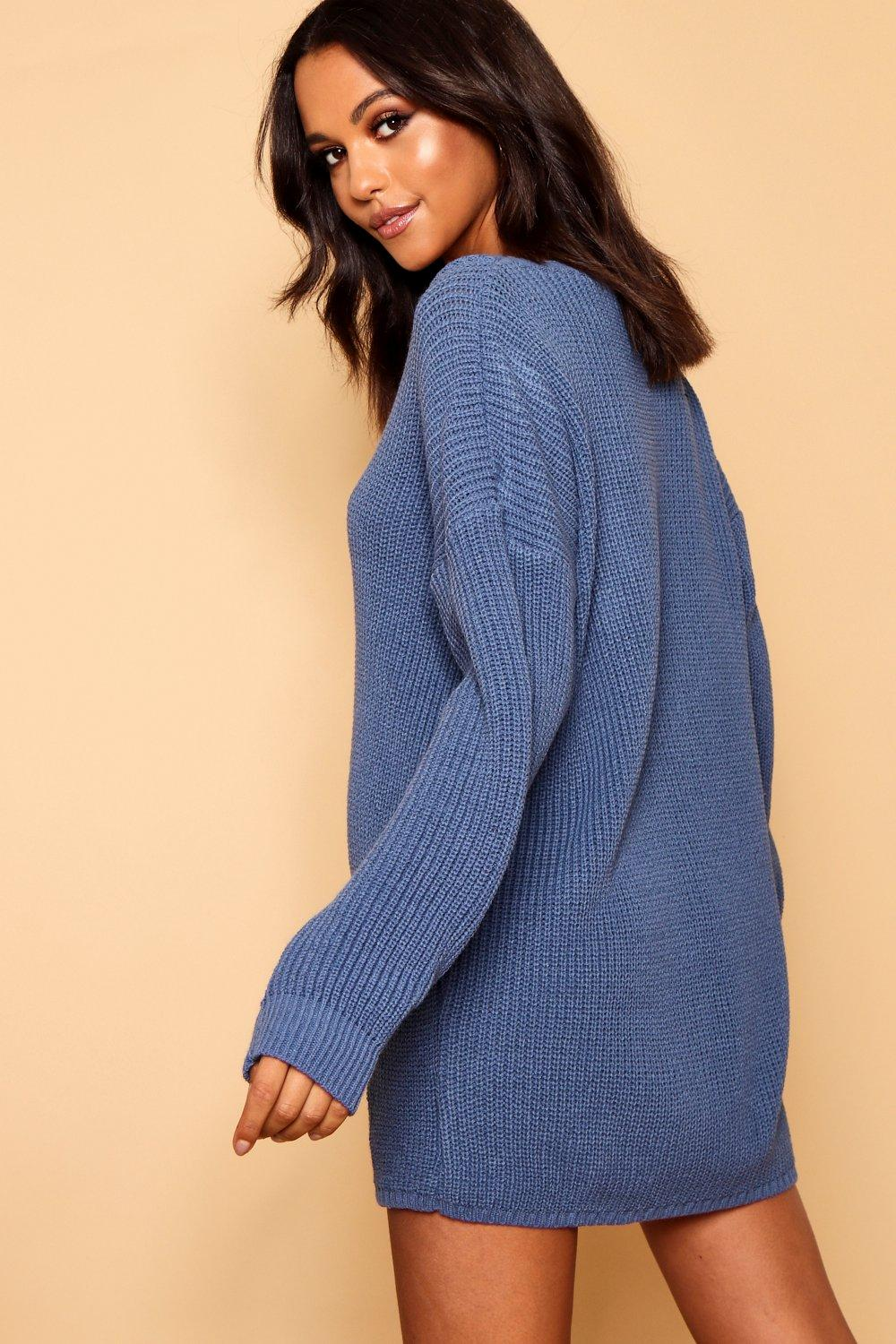 V Dress denim blue Jumper Rib Neck vxPUwxZ