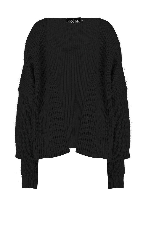 Oversized black Oversized Cropped Cardigan Rib Rib 6xvq0