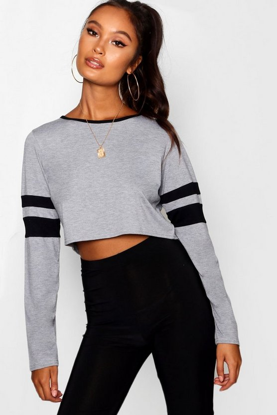 Stripe Sleeve Crop