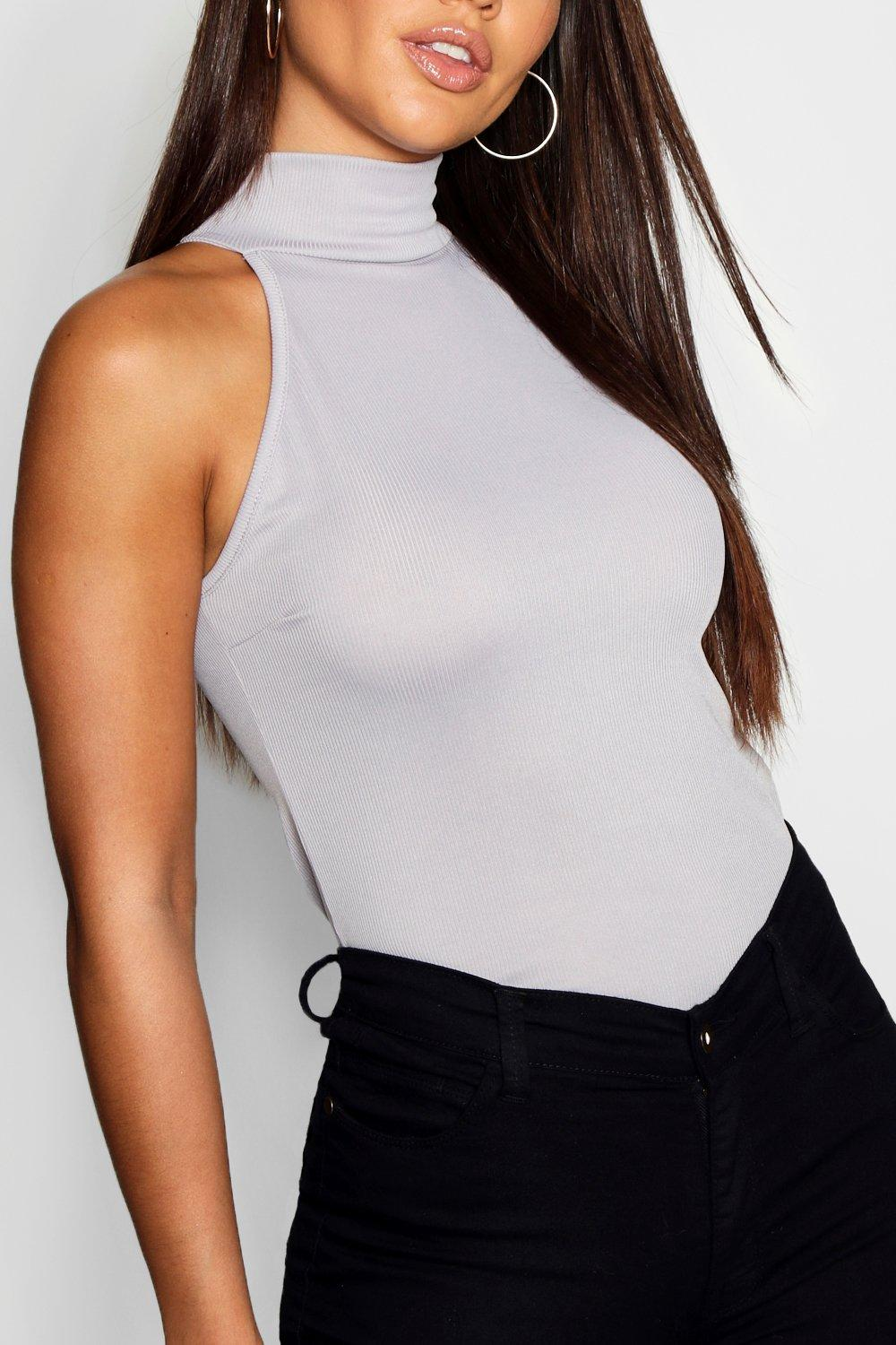 Neck grey High Cami marl Rib Hem 6gadwq0