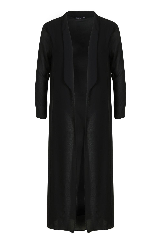 Collared Maxi Collared black black Woven Collared Kimono Maxi Woven Kimono rUrfwAq0