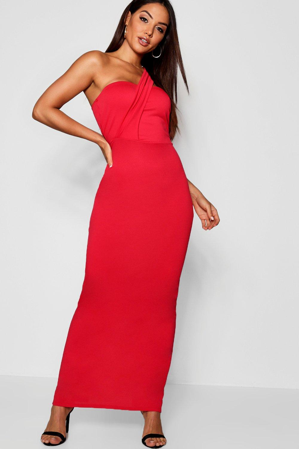 8ee687aea1fcc Womens Red One Shoulder Maxi Dress. Hover to zoom