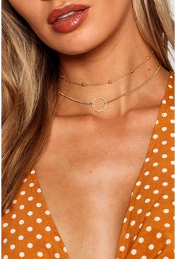 Circle And Chain Choker Pack, Gold, Donna