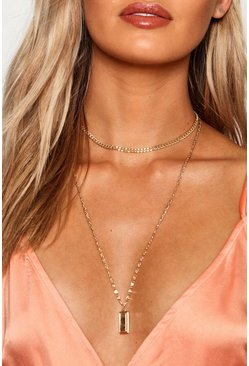 Womens Gold Chunky Chain And Bar Layered Necklace