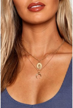 Womens Gold Horn And Sovereign Layered Necklace