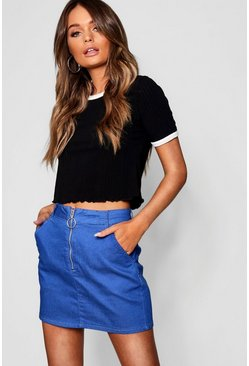 Womens Cobalt Zip Detail Denim Mini Skirt