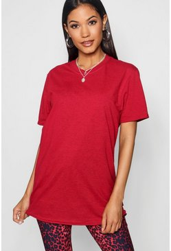 Womens Cherry Basic Oversized Boyfriend T-shirt