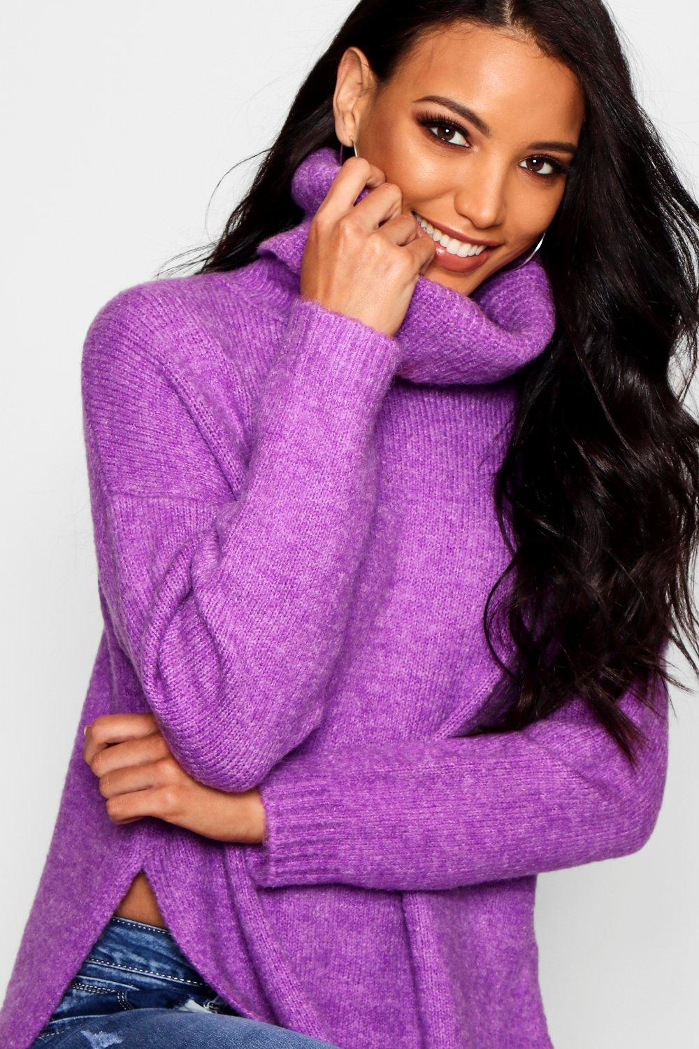 Premium Neck Roll Oversized Jumper purple 6OwUqR7