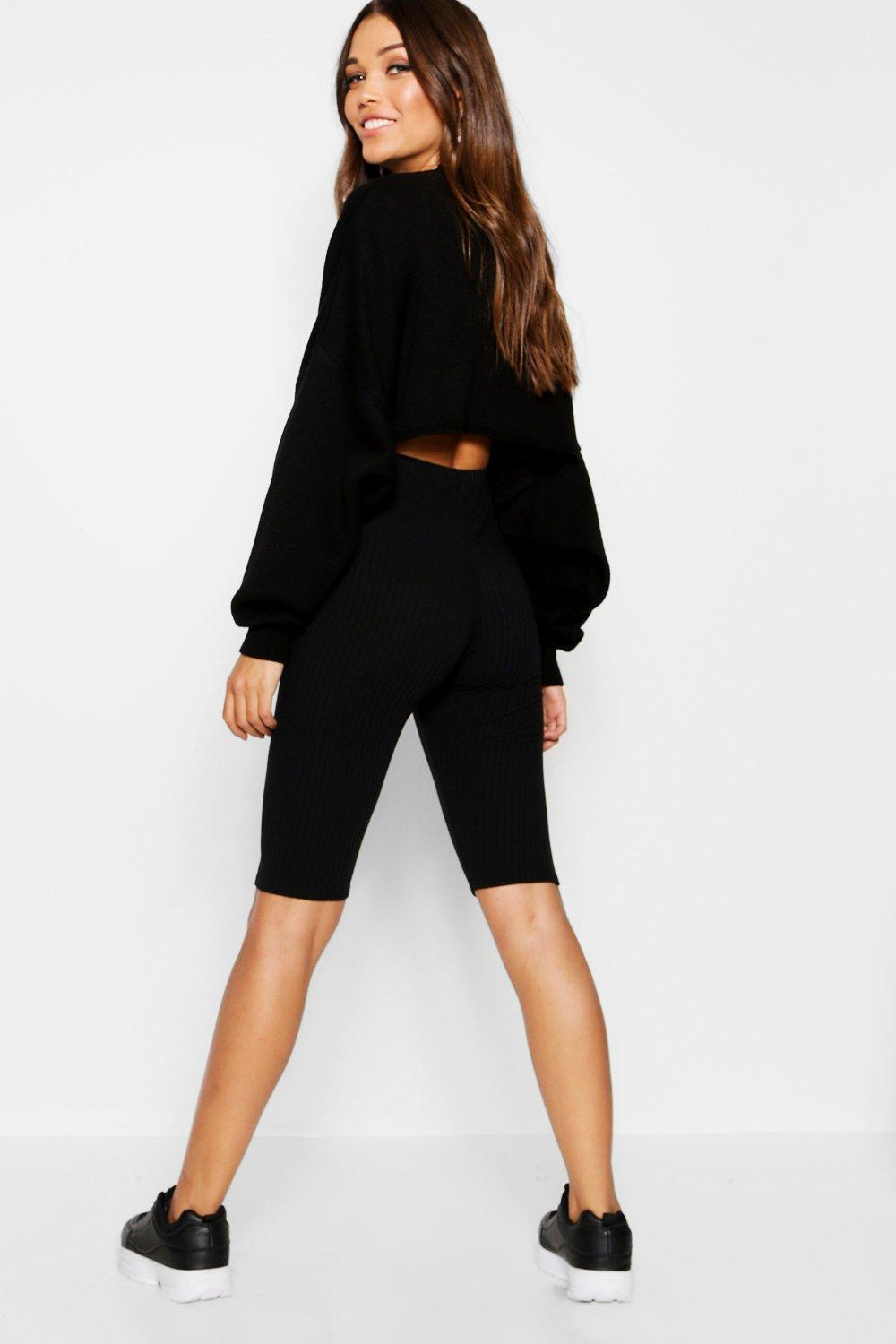black Short Longline Knit Rib Cycling qpXZBnH