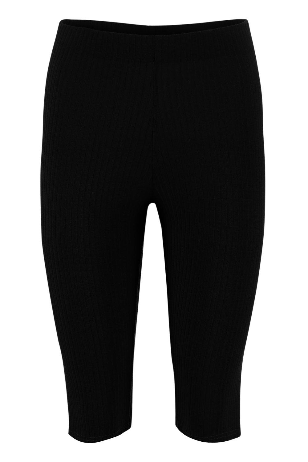 Rib Knit Cycling Short Longline black UYUw7rqA