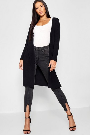 Womens Rib Knit Midi Length Cardigan