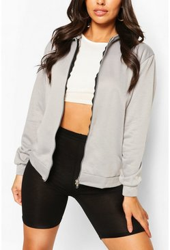 Grey marl Basic Zip Through Hoody