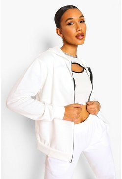 Basic Zip Through Hoody, White, Donna