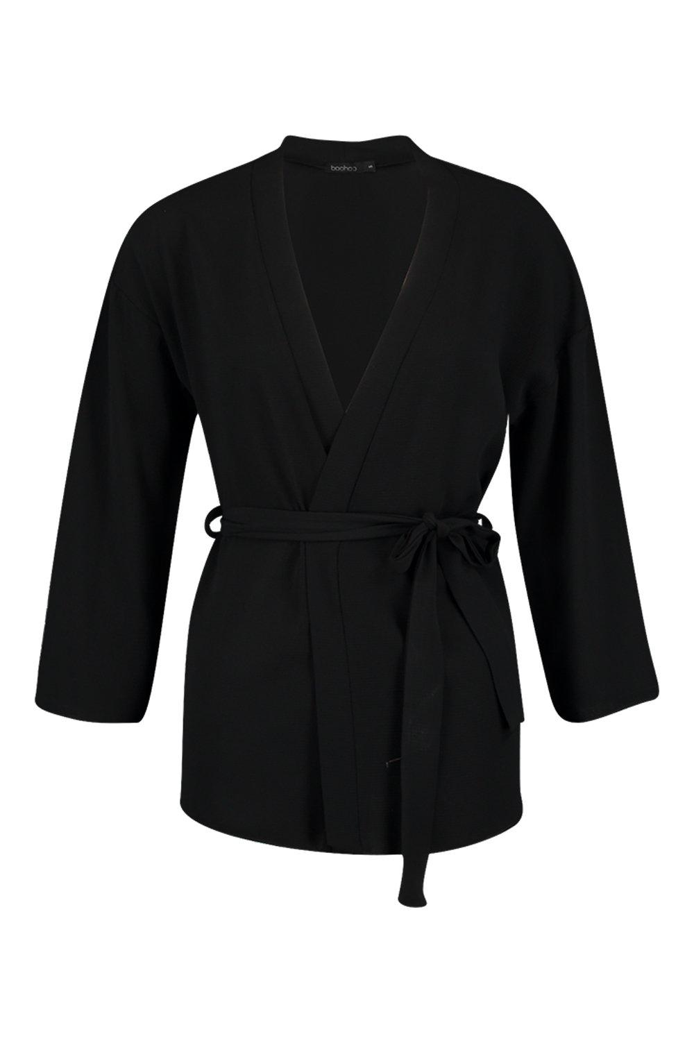 Kimono Belted Woven black Belted Woven Belted Woven Belted black Kimono black Kimono qEwv6