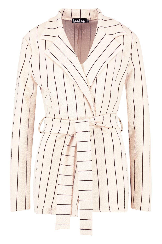 Belted Stripe Jacket nude Kimono Stripe Belted qzw0qPH