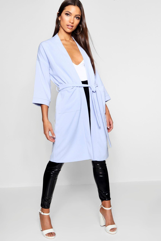 Kimono Oversized dusty Pocket Midi blue gPPqH