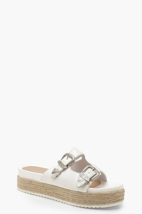 Buckle Espadrille Sliders