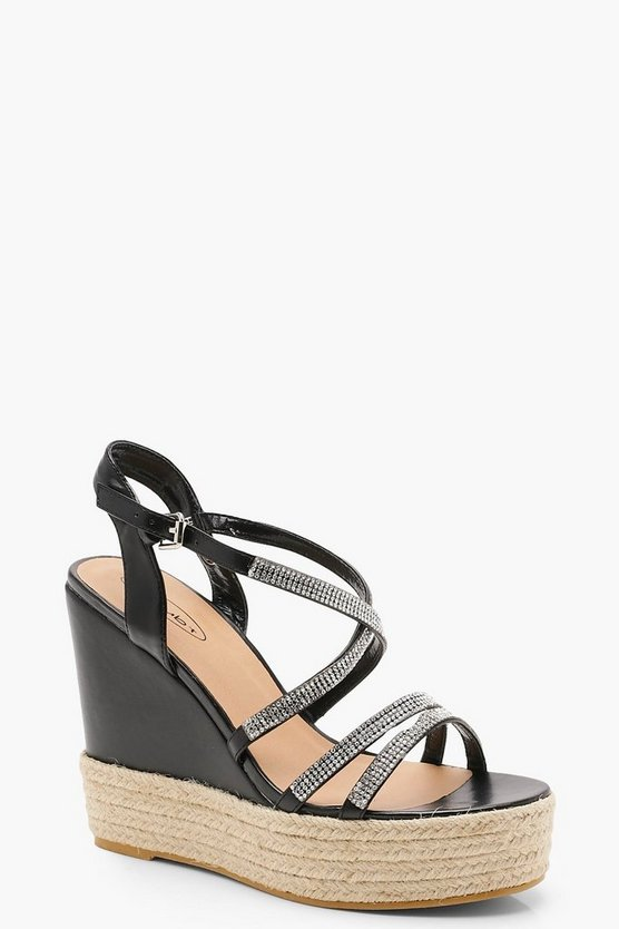 Diamante Strappy Wedges
