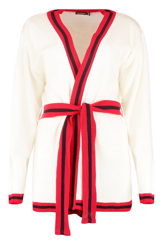 Sport Cardigan Stripe Stripe Belted Sport red Cardigan Belted Y4PEwqP