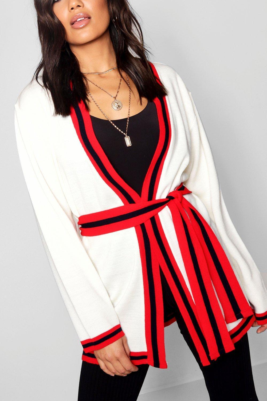 Stripe Belted Stripe Stripe Sport Sport Sport Belted red Cardigan red Cardigan 0qEw8R