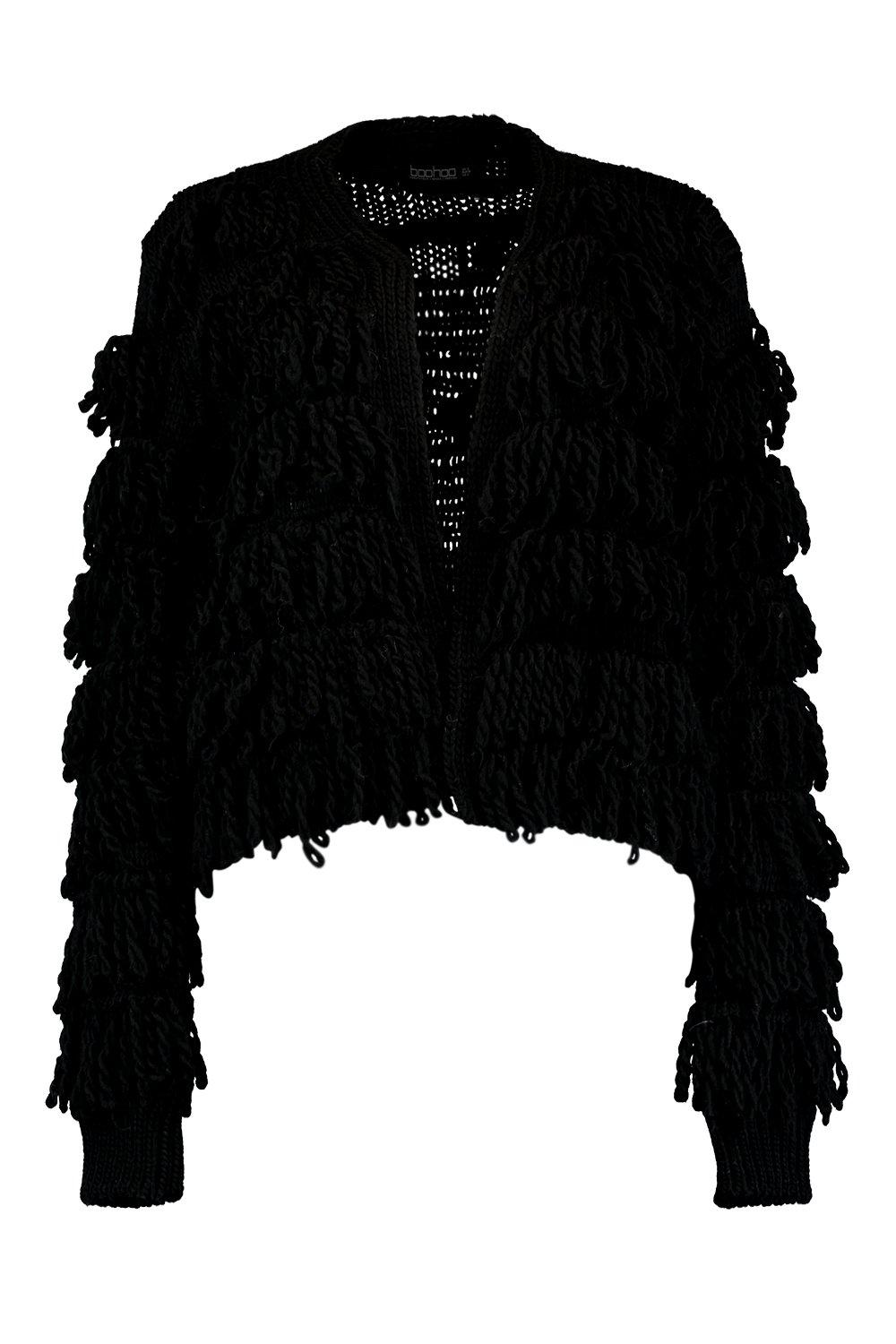 Cardigan Fringed Fringed Shaggy Knit black Shaggy IPSnUx5qTw