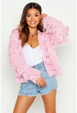Womens Pink Fringed Shaggy Knit Cardigan