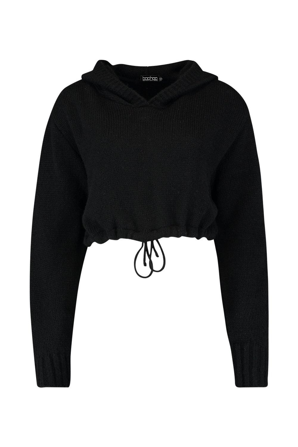 Soft Jumper Knit Hooded Crop Selecciona Hem Ruched PXwtqxE
