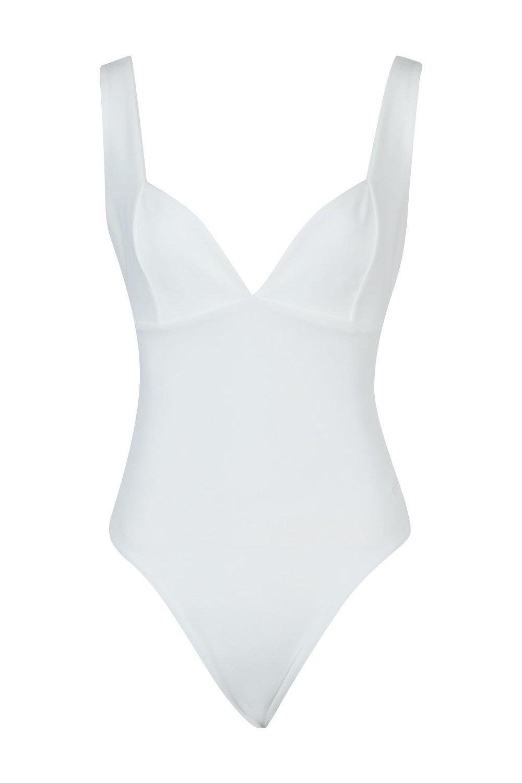 y costura forma escote corazón detalle en con de Body blanco nqP4X8E