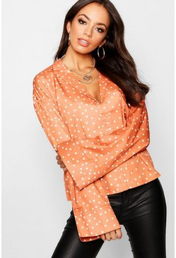 Womens Rust Spot Flare Sleeve Shirt