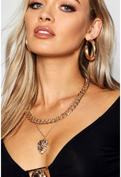 Womens Gold Chunky Chain & Lion Layered Necklace