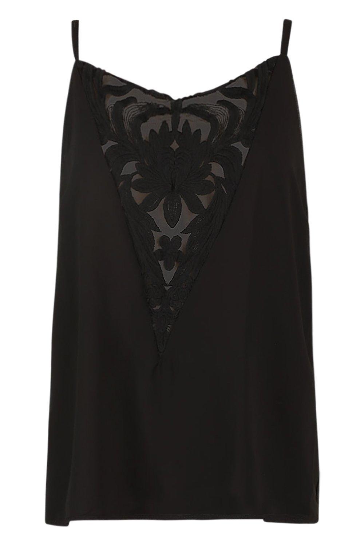 escote pronunciado negro de pieza con en malla y Camisola encaje ZfEqpB5wpz