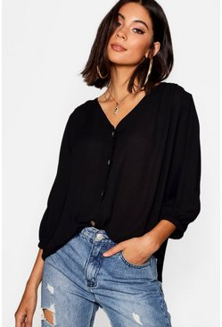 Womens Black Horn Button Through Blouse