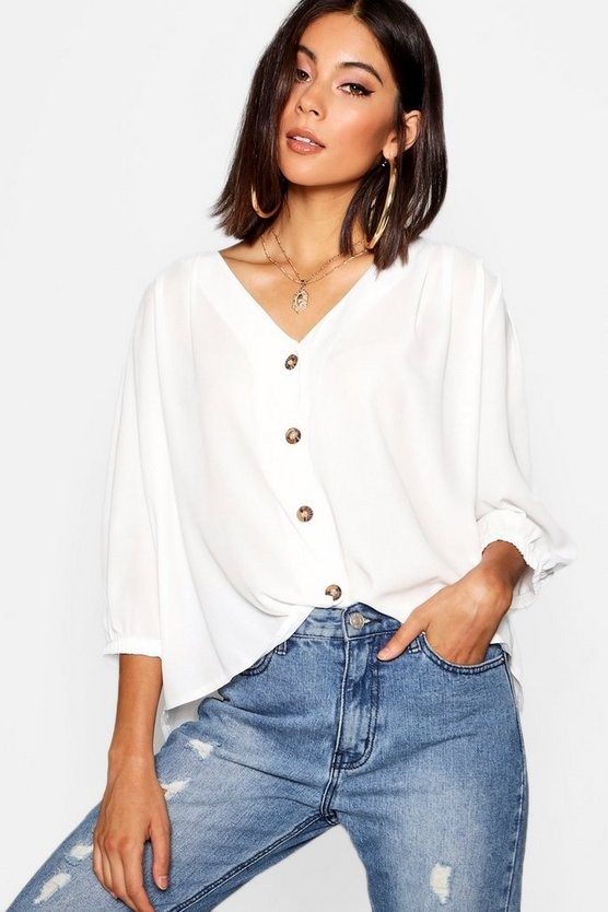 Womens Ivory Horn Button Through Blouse