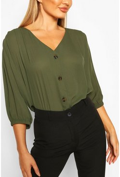 Womens Khaki Horn Button Through Blouse