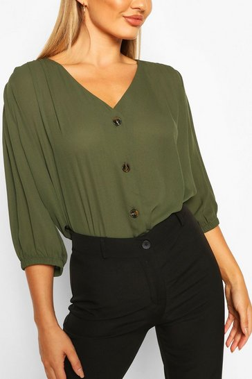 Khaki Horn Button Through Blouse