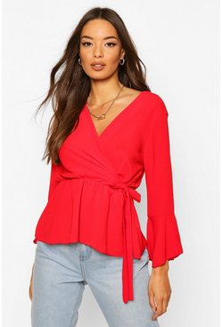 Red Wrap Front Peplum Hem Blouse